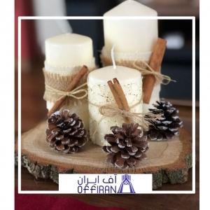 خرید و قیمت ست شمع استوانه ای طرح کاج از آف ایران