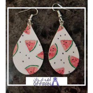 خرید و قیمت گوشواره چرمی دست ساز طرح هندوانه از آف ایران